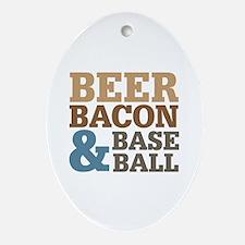 Beer Bacon Baseball Ornament (Oval)