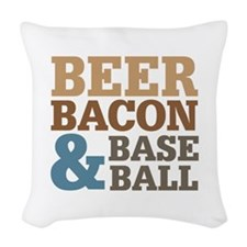 Beer Bacon Baseball Woven Throw Pillow