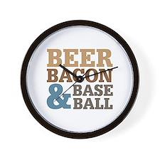 Beer Bacon Baseball Wall Clock