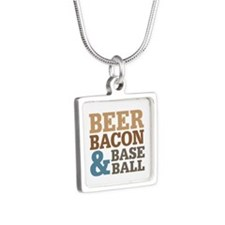 Beer Bacon Baseball Silver Square Necklace