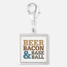 Beer Bacon Baseball Silver Square Charm