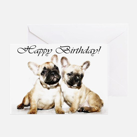 Happy Birthday French Bulldogs Greeting Cards