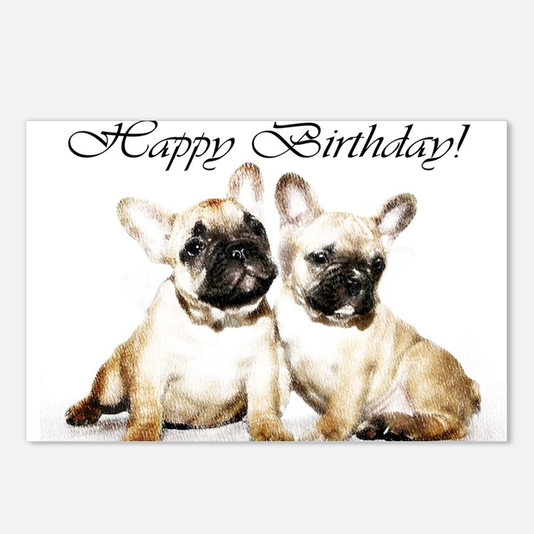 Happy Birthday French Bulldogs Postcards (Package