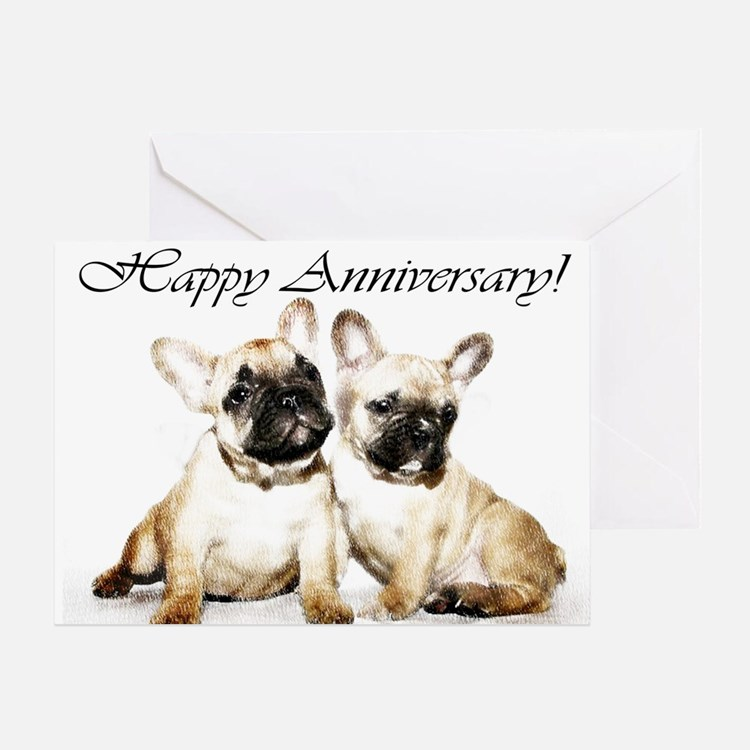 Happy Anniversary French Bulldogs Greeting Cards