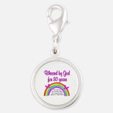 80TH LOVE JESUS Silver Round Charm