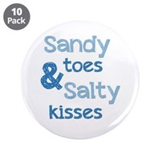 """Sandy Toes Salty Kisses 3.5"""" Button (10 pack)"""