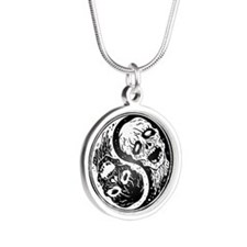 White and Black Yin Yang Zombies Necklaces