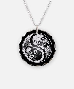 White and Black Yin Yang Zombies Necklace