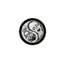 White and Black Yin Yang Zombies Mini Button