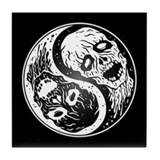 White and Black Yin Yang Zombies Tile Coaster