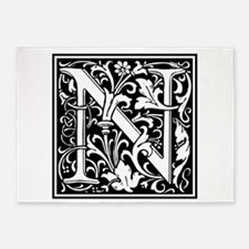 Decorative Letter N 5'x7'Area Rug