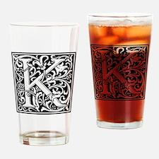 Decorative Letter K Drinking Glass