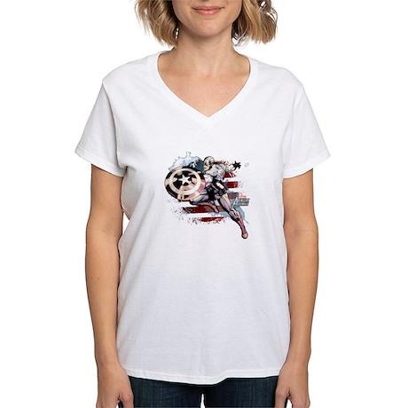 Grunge Captain America Women's V-Neck T-Shirt