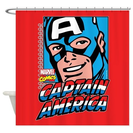 Captain america smiling shower curtain by captainamerica - Captain america curtains ...