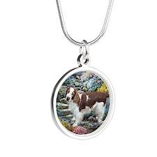 Welsh Springer Spaniel Art Silver Round Necklace
