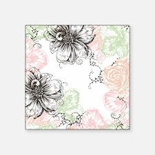 "Modern Floral Vintage Graph Square Sticker 3"" x 3"""