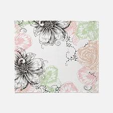 Modern Floral Vintage Graphic Flower Throw Blanket