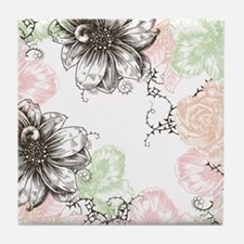 Modern Floral Vintage Graphic Flowers Tile Coaster