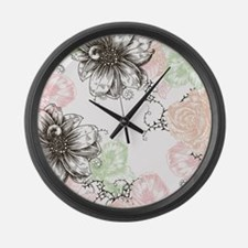 Modern Floral Vintage Graphic Flo Large Wall Clock