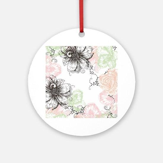 Modern Floral Vintage Graphic Flowe Round Ornament
