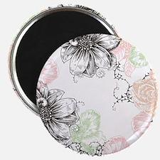 Modern Floral Vintage Graphic Flowers Pink  Magnet