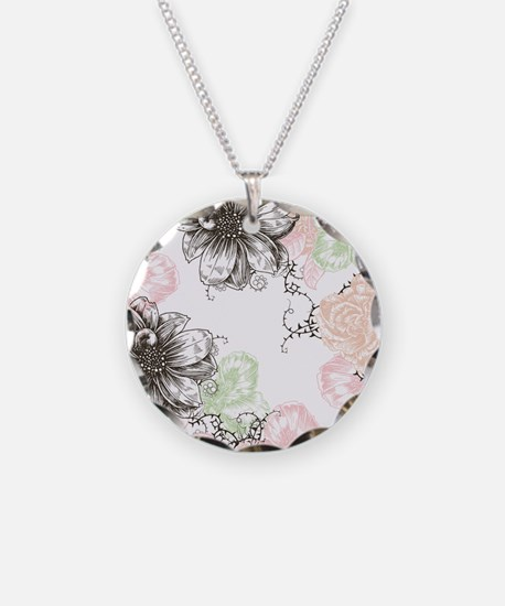 Modern Floral Vintage Graphi Necklace