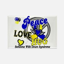 DS Peace Love Hug 2 Rectangle Magnet