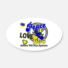 DS Peace Love Hug 2 Oval Car Magnet