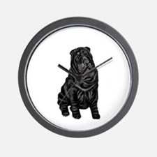 SharPei (blk) Wall Clock