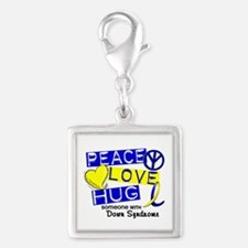 DS Peace Love Hug 1 Silver Square Charm