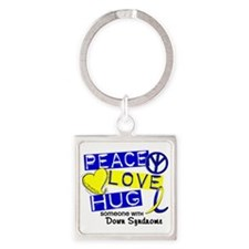 DS Peace Love Hug 1 Square Keychain