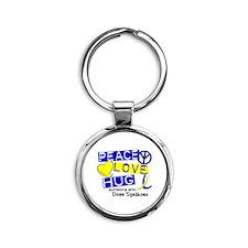 DS Peace Love Hug 1 Round Keychain