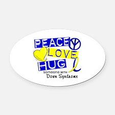 DS Peace Love Hug 1 Oval Car Magnet