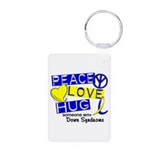 DS Peace Love Hug 1 Aluminum Photo Keychain