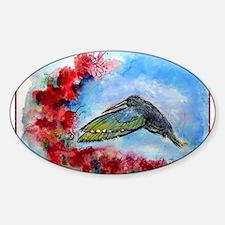 Hummingbird, red flowers, art Decal