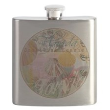 Vintage Florida Travel Beach Shells Collage Flask