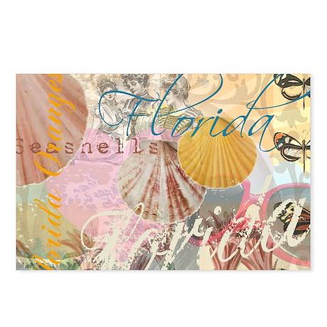 Vintage Florida Travel Beach Shells Collage Postca