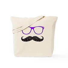 Black Mustache Purple Glasses Tote Bag