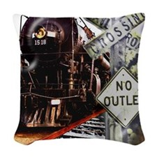SQU Train Collage Woven Throw Pillow