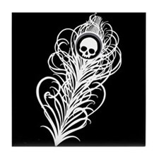 Skull Gothic Peacock Feather Tile Coaster