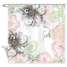 Modern Floral Vintage Graphic Flowers Pink Mint Bl