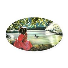 Under the trees Oval Car Magnet