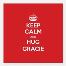 "Hug Gracie Square Car Magnet 3"" x 3"""