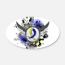 DS Grunge Ribbon Wings Oval Car Magnet