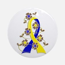 DS Flower Ribbon 2 Ornament (Round)