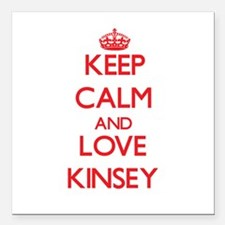 """Keep Calm and Love Kinsey Square Car Magnet 3"""" x 3"""