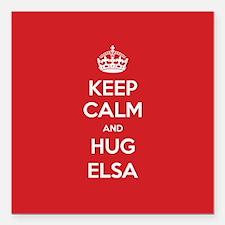"Hug Elsa Square Car Magnet 3"" x 3"""