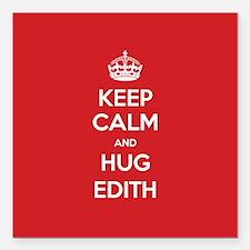 "Hug Edith Square Car Magnet 3"" x 3"""