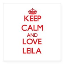 "Keep Calm and Love Leila Square Car Magnet 3"" x 3"""