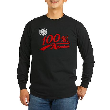 100% Albanian Long Sleeve Dark T-Shirt